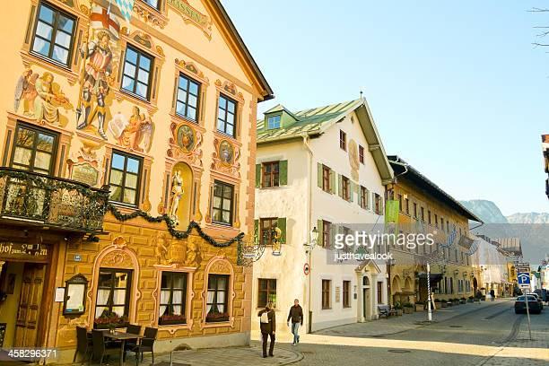 walking through partenkirchen - garmisch partenkirchen stock pictures, royalty-free photos & images