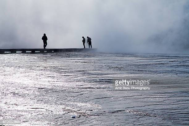 Walking through steam, Midway Basin, Yellowstone