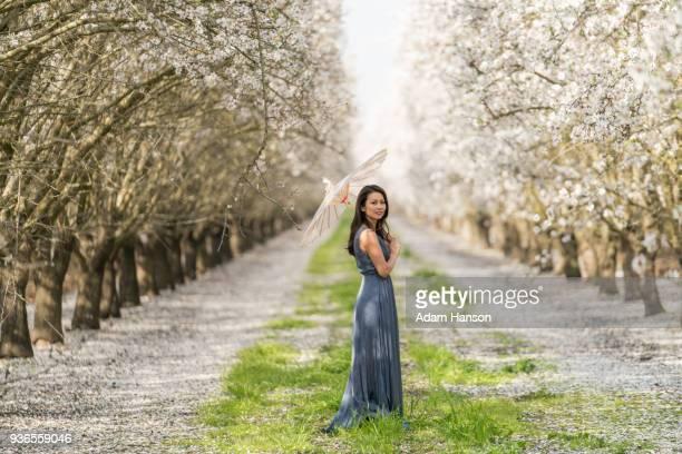 Walking through the almond grove.