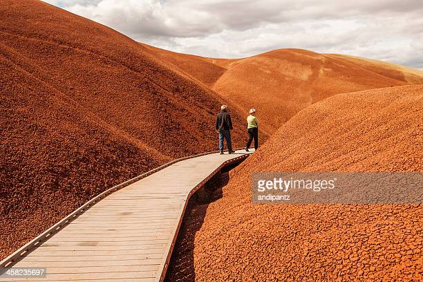 walking through the painted hills - painted hills stock pictures, royalty-free photos & images