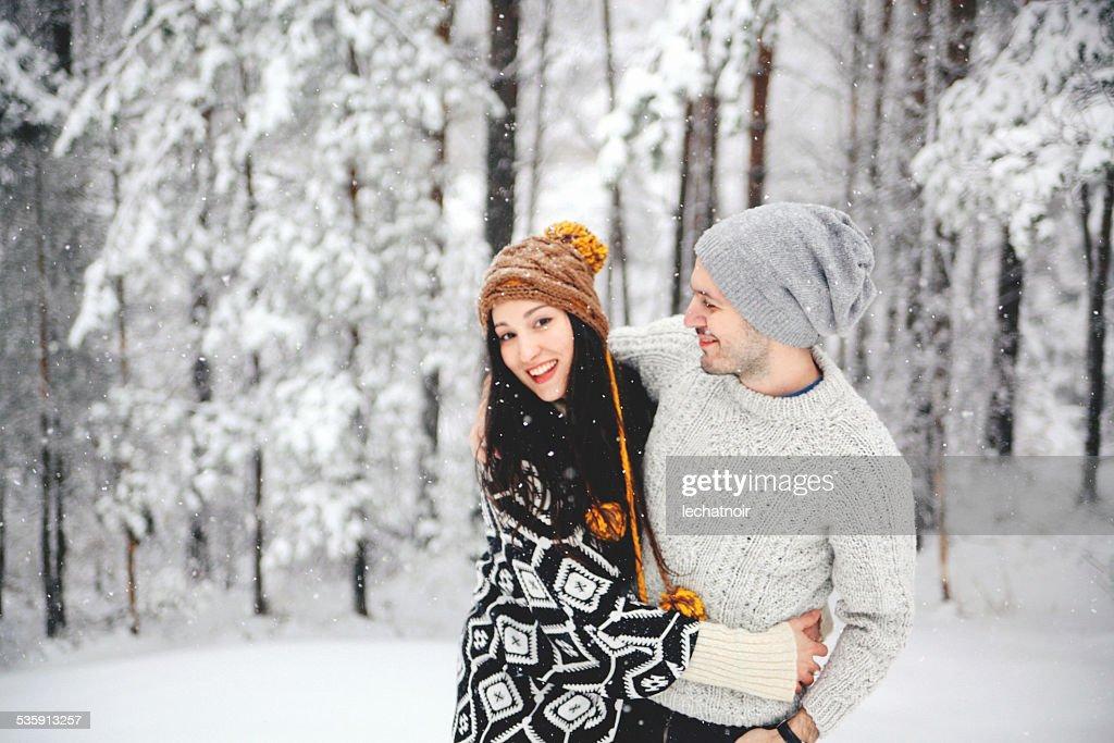 Walking through the snow : Stock Photo