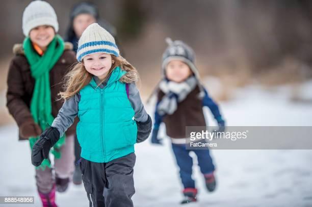 Fuß durch den Schnee