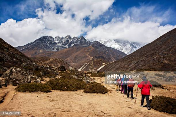 Walking to destination - Everest Base Camp in Nepal.