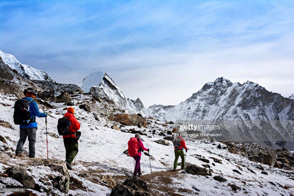 Walking to Everest Base Camp. : Stock Photo