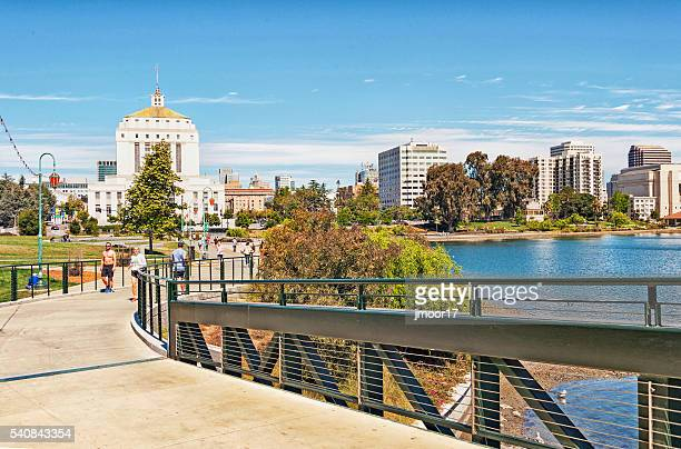 Walking Trail around Lake Merritt with many Men and Women