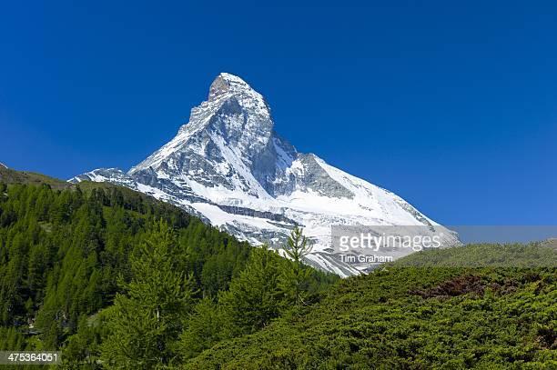 Walking trail below the Matterhorn mountain in the Swiss Alps near Zermatt Switzerland