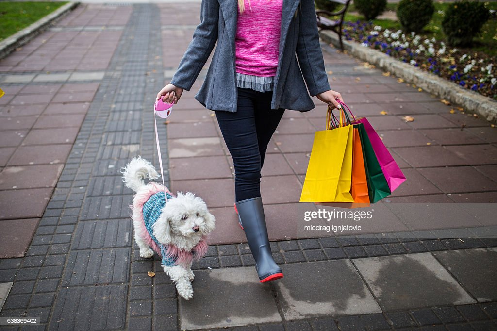 Walking with her dog : Stock Photo