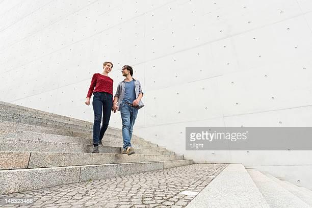 Walking young couple