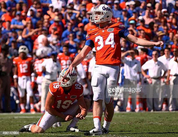 Walkon kicker Alex Anzalone of the Florida Gators looks on after missing an extra point attempt during the first quarter of the game against the...
