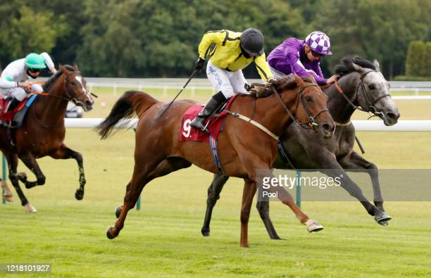 Walkonby ridden by Silvestre De Sousa winning The Heed Your Hunch At Betway Handicap at Haydock Racecourse on June 07, 2020 in Haydock, England.