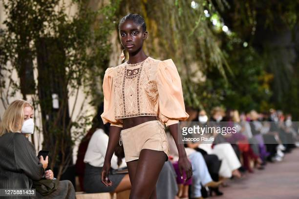 Walks the runway at the Alberta Ferretti fashion show during the Milan Women's Fashion Week on September 23, 2020 in Milan, Italy.