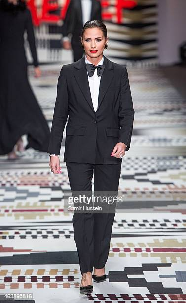 walks the runway at the Fashion For Relief charity fashion show to kick off London Fashion Week Fall/Winter 2015/16 at Somerset House on February 19...