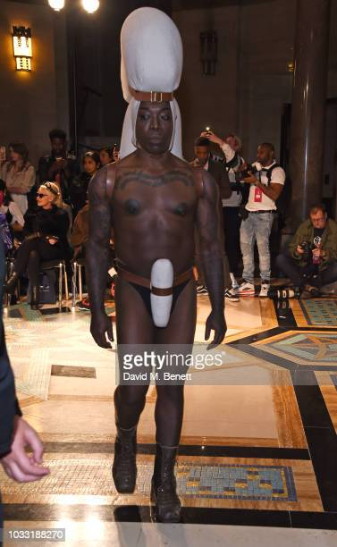 INC walks the runway at the Pam Hogg show during London Fashion Week September 2018 at The Freemason's Hall on September 14 2018 in London England