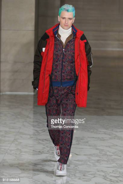 MILK walks the runway wearing Perry Ellis Fall 2018 at The Hippodrome Building on February 6 2018 in New York City
