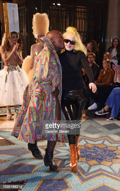 INC walks the runway with designer Pam Hogg at the Pam Hogg show during London Fashion Week September 2018 at The Freemason's Hall on September 14...