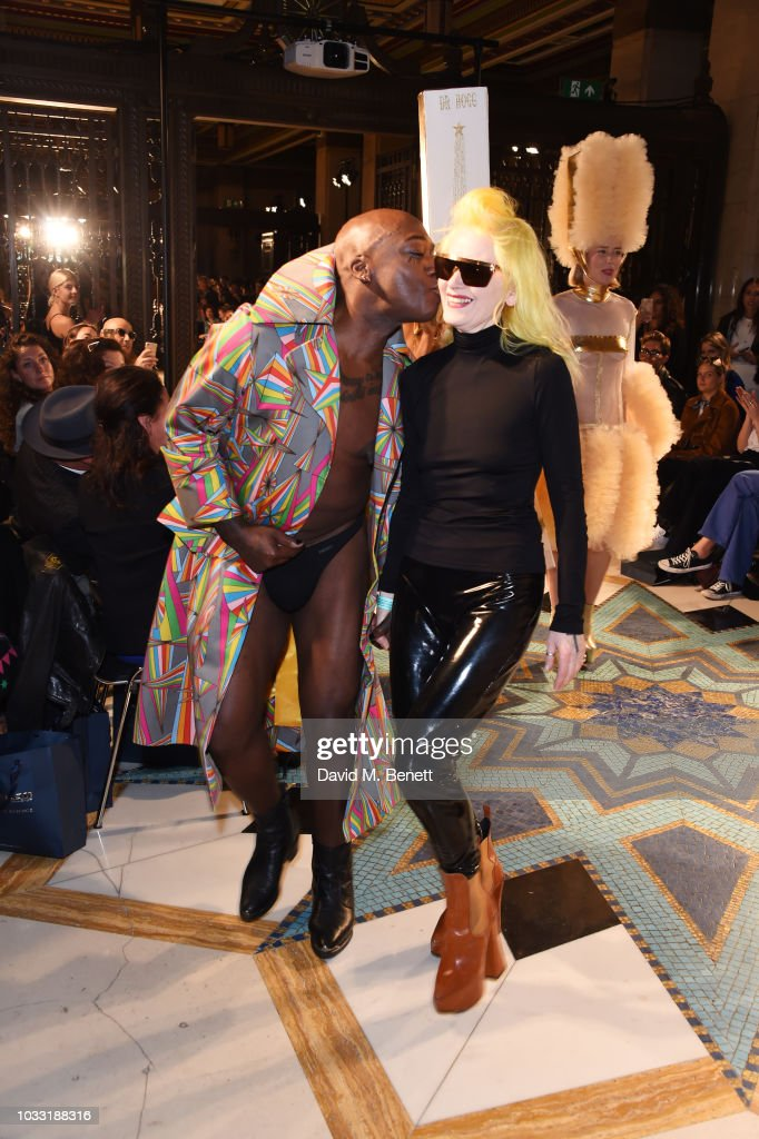 INC walks the runway with designer Pam Hogg at the Pam Hogg show during London Fashion Week September 2018 at The Freemason's Hall on September 14, 2018 in London, England.