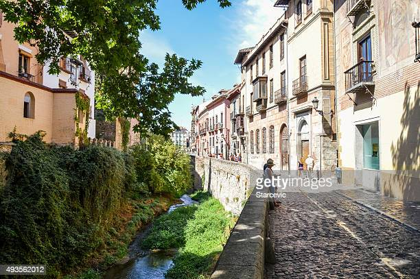 Walkway along the river in Granada, Spain