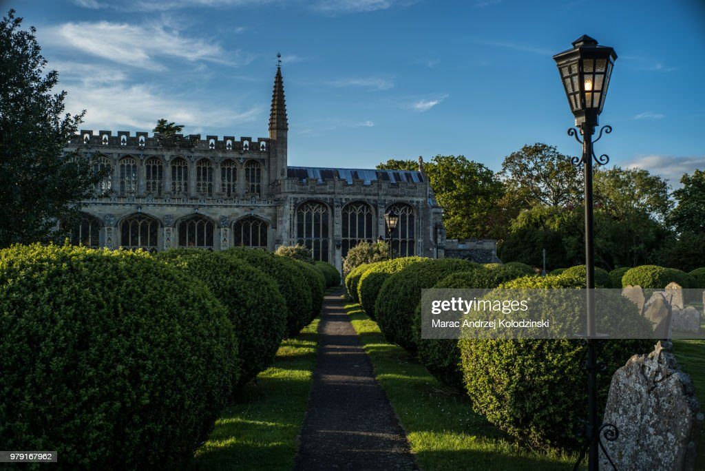 Walkway and bushes, St Peter and St Paul's Church in background, Lavenham, Suffolk, England, UK : Foto de stock