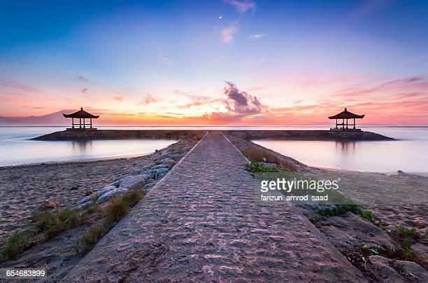Walkway and pagodas on the beach, Bali, Indonesia