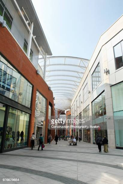 Walkway between shops at the Eden Shopping Centre High Wycombe UK