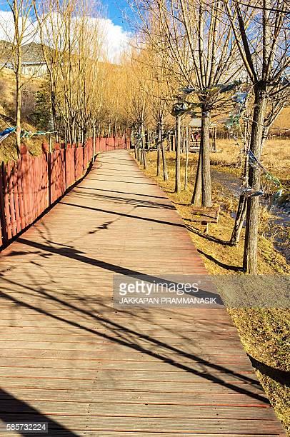 walkway in songzanlin tibetan buddhist monastery - songzanlin monastery stockfoto's en -beelden