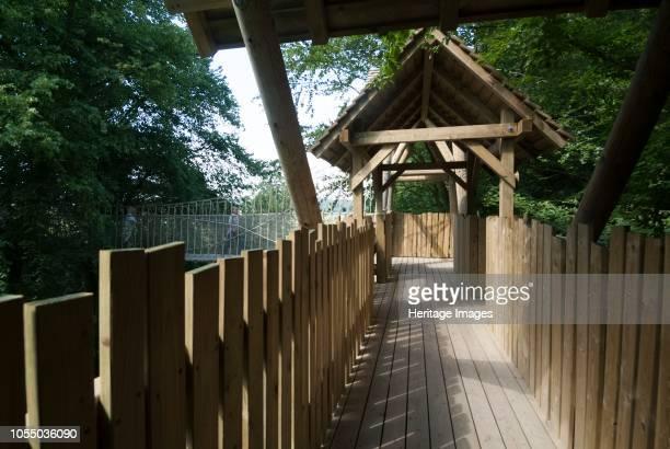 Walkway in the contemporary Alnwick Garden close to Alnwick Castle Northumberland England Artist Ethel Davies