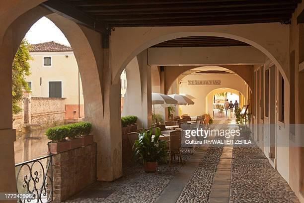 walkway in treviso, veneto, italy - トレヴィーゾ市 ストックフォトと画像