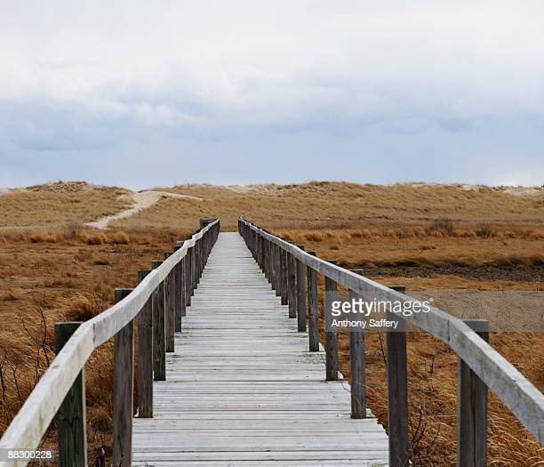 Walkway on stormy beach