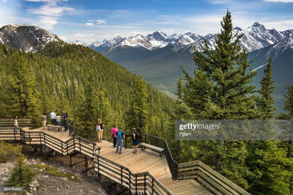 Walkway on the peak of Sulphur Mountain Banff Alberta Canada : Stock Photo