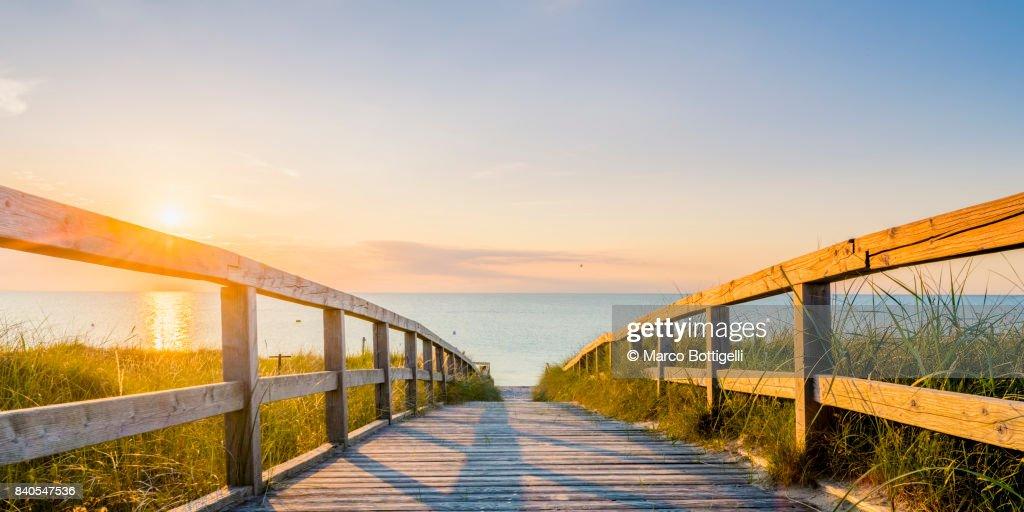 Walkway to the Baltic sea. Germany. : Stock Photo