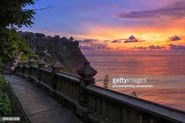 Walkway to Uluwatu Temple at twilight, Bali Indonesia.