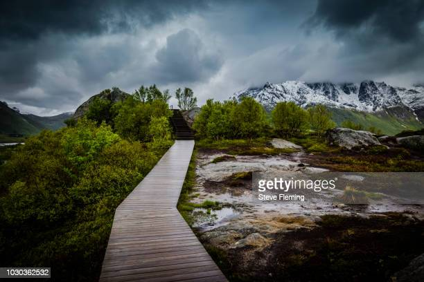 Walkway to view point close to Svolvaer, Lofoten Islands, Norway.