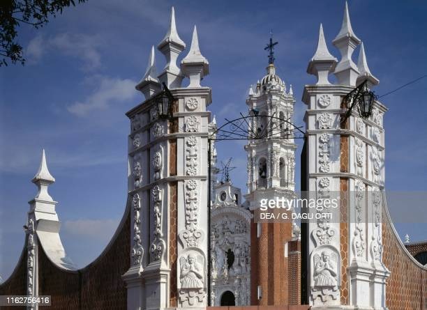 Wall and bell tower of the Sanctuary of Our Lady of Ocotlan Tlaxcala Mexico 18th century
