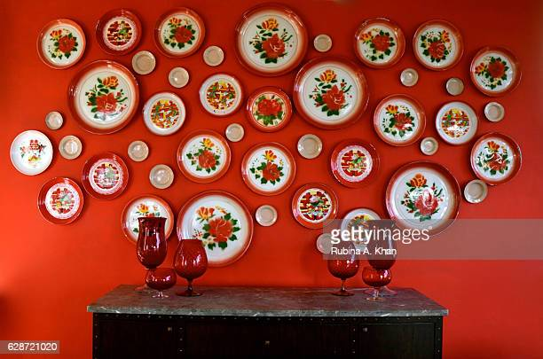 Wall art inspired by Goa's rich Portuguese heritage at Spice Traders a PanAsian restaurant under the culinary direction of Chef Tanveer Kwatra at the...