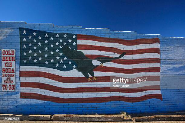 wall at a restaurant on the historic route 66, antares, kingman, arizona, usa, north america - captions stock photos and pictures