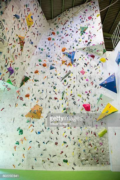 A wall at a rock climbing gym