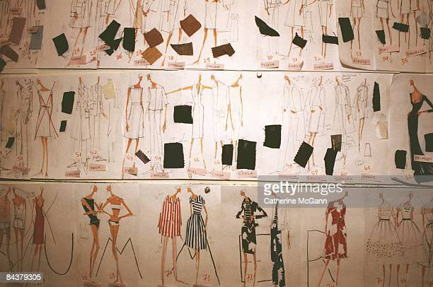 Wall at American fashion designer Isaac Mizrahi's showroom pinned with sketches of designs for his next collection. The sketches include swatches of...