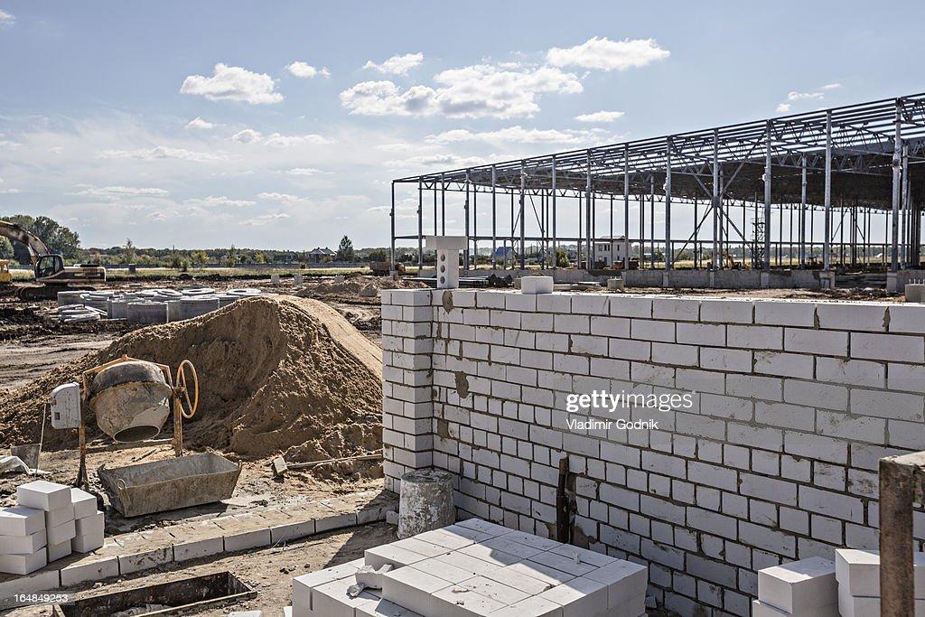 Wall Construction Materials : Wall building materials at construction site stock foto