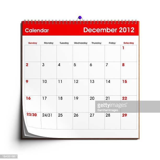 wandkalender dezember 2012 - kalender stock-fotos und bilder
