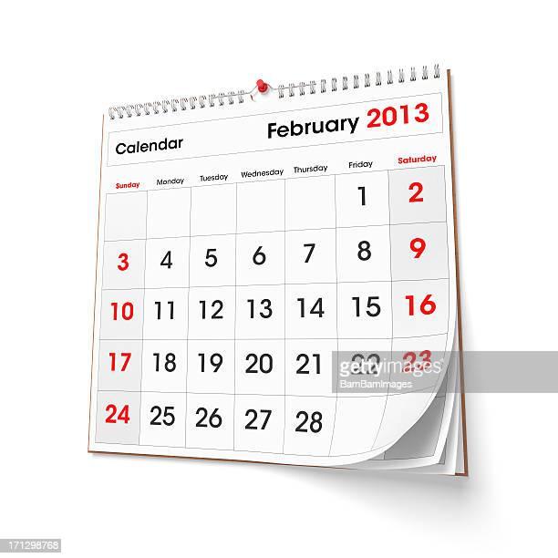 Calendario de pared de febrero de 2013