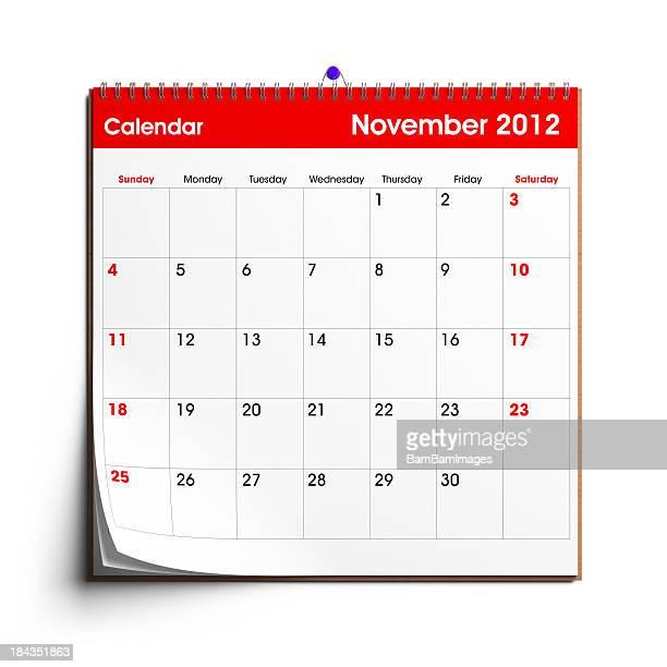 Calendario de pared de noviembre de 2012