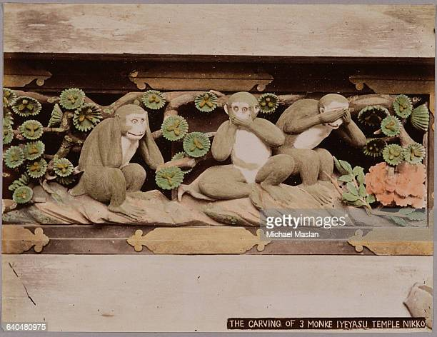 A wall carving of three monkeys at the sacred stables of Toshogu Shrine the final resting place of Ieyasu Tokugawa the first of the Tokugawa Shoguns...