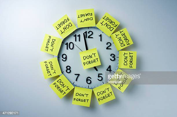 Wall clock with 'don't forget' notes all over