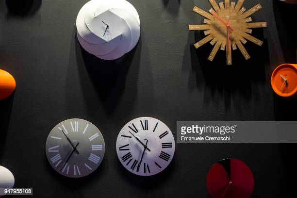 Wall clocks on display at the Alessi display stand during the Salone Internazionale del Mobile at Fiera di Rho on April 17 2018 in Milan Italy Every...