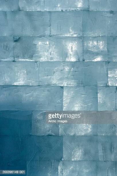 Wall composed of bricks of ice, full frame