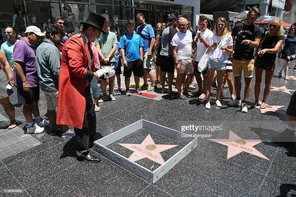 Wall Placed Around The Hollywood Walk Of Fame Star Of Donald Trump : News Photo