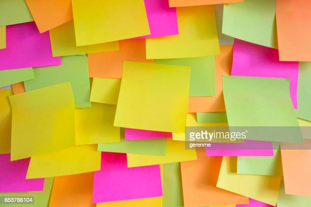 wall covered with adhesive notes - post it stock pictures, royalty-free photos & images