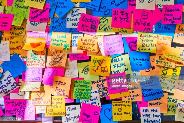 Wall covered with Colourful Post it Notes