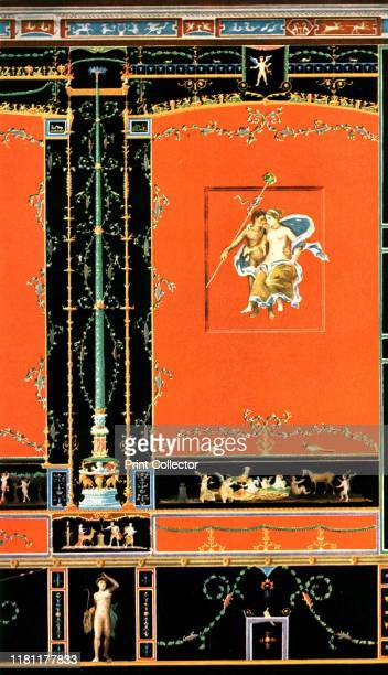 Wall decoration Pompeii Italy 'About 50 ADMural painting on N wall of the great oecus the dining and banqueting hall in the Casa dei Vettii Over the...
