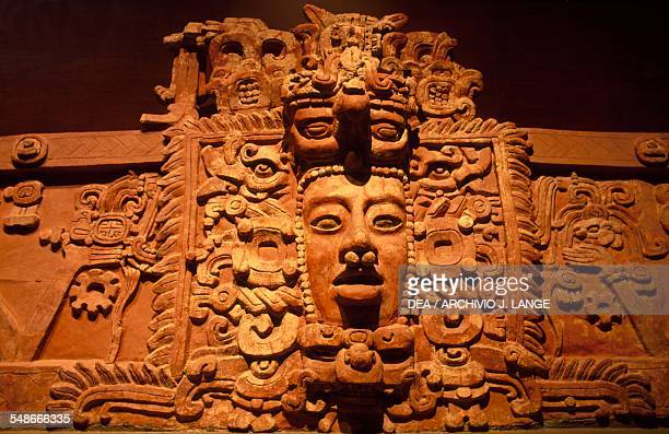 Wall decoration with an image of the Sun god Kinich Ahau, from the State of Campeche. Mayan civilisation, 6th-9th century. Mexico City, Museo...